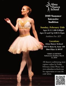 Alma Dance School 2019 Summer Intensive Auditon