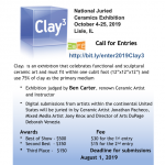 Call for Ceramic Artists for Juried Exhibition Cla...