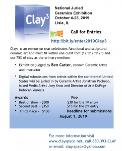 Call for Ceramic Artists for Juried Exhibition Clay3