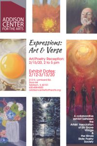 "Artists' Reception: Art and Poetry Meet at Addison Center for the Arts for ""Expressions: Art & Verse"""