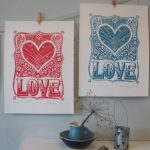 Block Printing Valentines